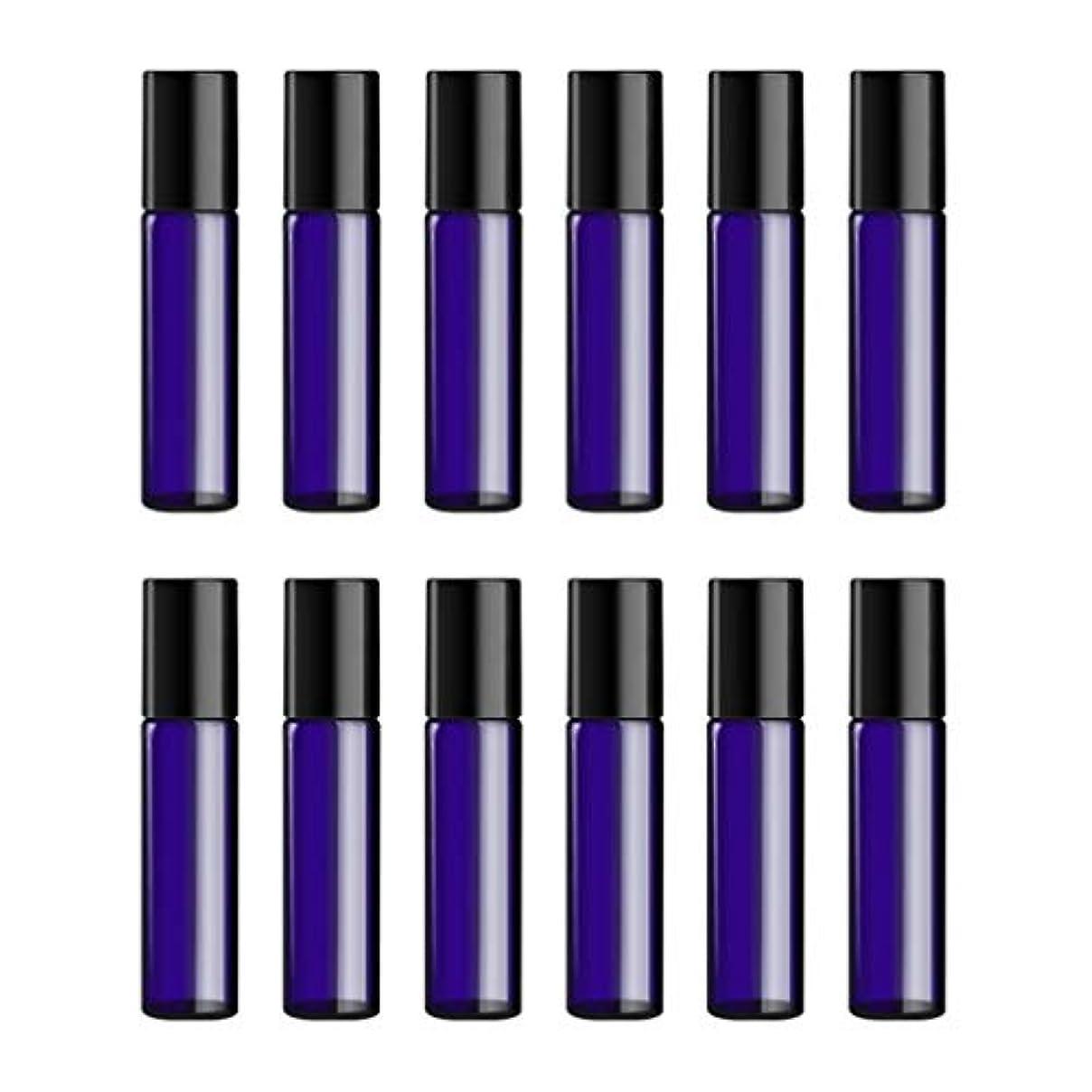 連合ロープラウズLurrose ボトルのロール旅行旅行 精油 小分け用 詰め替えローラーボールエッセンシャルオイル 精油ローラーボトルガラス香水瓶 10mlの12PCS 青