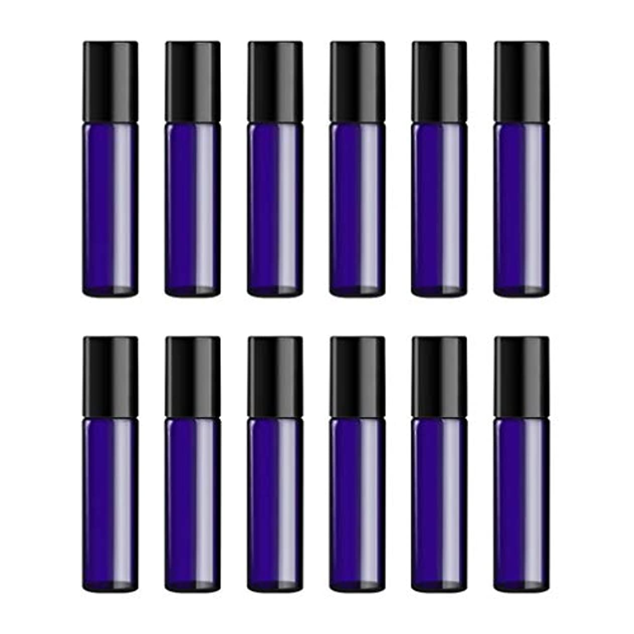 ギャラリーケープ翻訳者Lurrose ボトルのロール旅行旅行 精油 小分け用 詰め替えローラーボールエッセンシャルオイル 精油ローラーボトルガラス香水瓶 10mlの12PCS 青