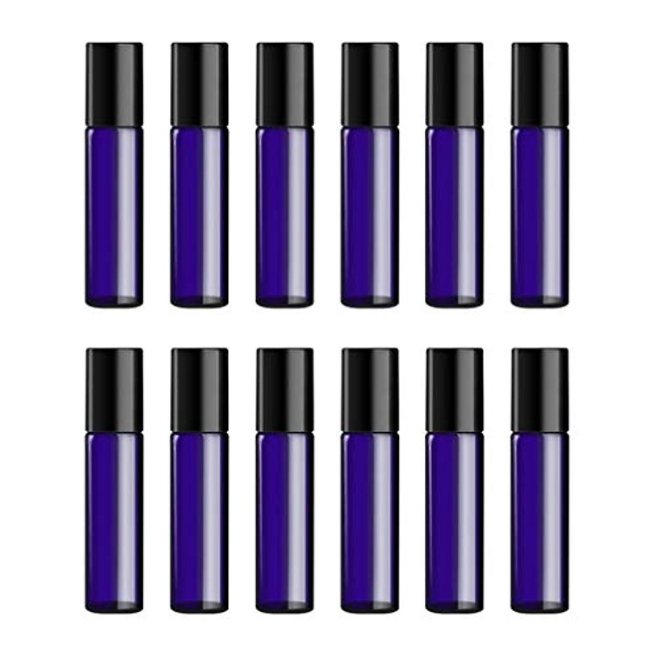 三角過度に困難Lurrose ボトルのロール旅行旅行 精油 小分け用 詰め替えローラーボールエッセンシャルオイル 精油ローラーボトルガラス香水瓶 10mlの12PCS 青