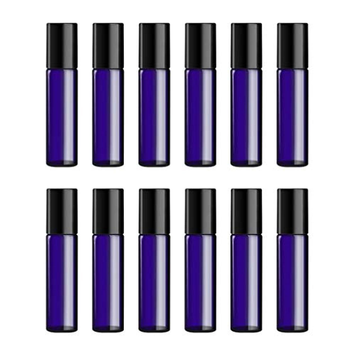 前承認入浴Lurrose ボトルのロール旅行旅行 精油 小分け用 詰め替えローラーボールエッセンシャルオイル 精油ローラーボトルガラス香水瓶 10mlの12PCS 青