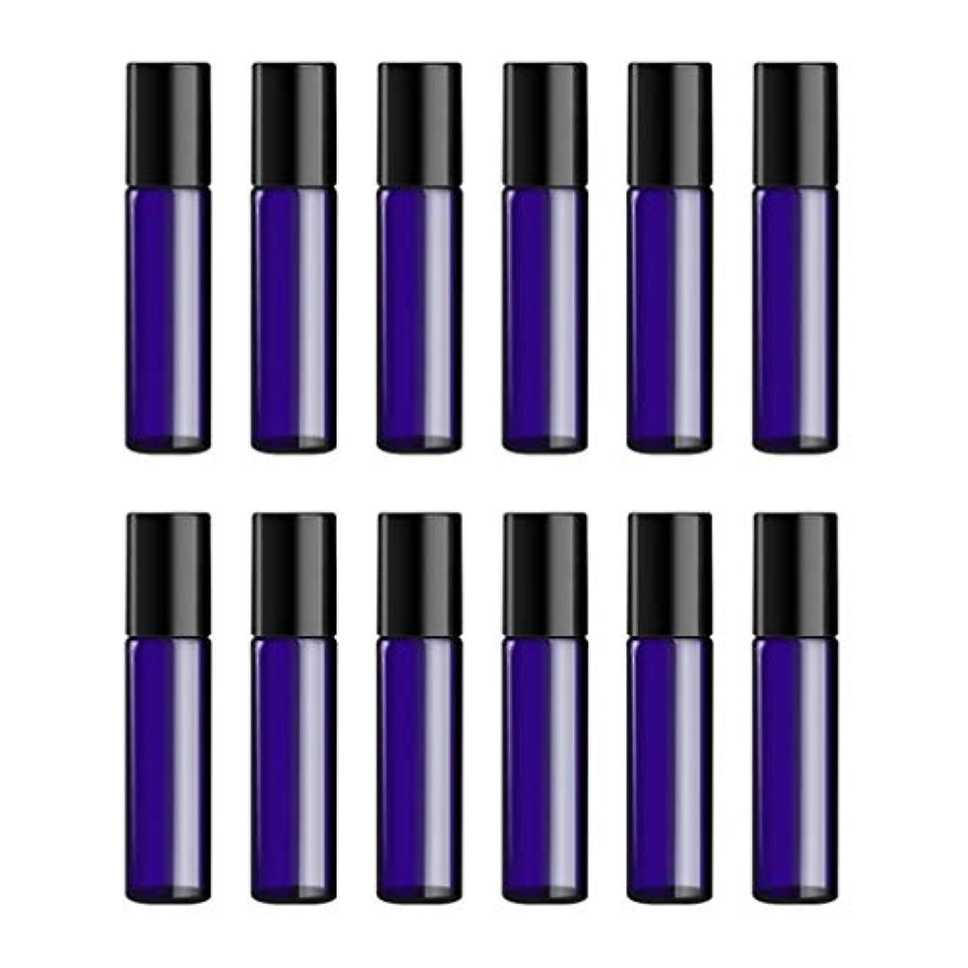 雨つまらない液化するLurrose ボトルのロール旅行旅行 精油 小分け用 詰め替えローラーボールエッセンシャルオイル 精油ローラーボトルガラス香水瓶 10mlの12PCS 青