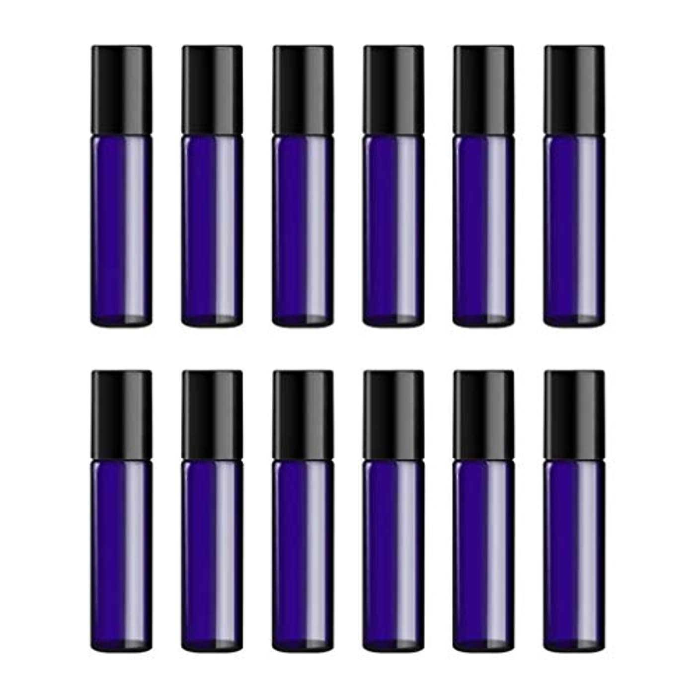 雑草受賞虐待Lurrose ボトルのロール旅行旅行 精油 小分け用 詰め替えローラーボールエッセンシャルオイル 精油ローラーボトルガラス香水瓶 10mlの12PCS 青