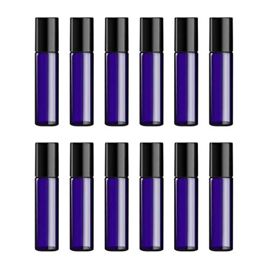 罪悪感自治サミュエルLurrose ボトルのロール旅行旅行 精油 小分け用 詰め替えローラーボールエッセンシャルオイル 精油ローラーボトルガラス香水瓶 10mlの12PCS 青