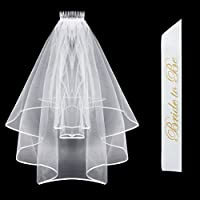 Bride To Be Sash & Bridal Veil with Comb & Ribbon Edge Center Cascade for Bachelorette Party Decoration Supplies Wedding White [Floral] [並行輸入品]