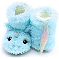 ETERNITY J. Girls Unicorn Bootie Slippers Fuzzy Comfy Plush Anti-Slip Indoor House Bedroom Shoes for Toddler Little Kids