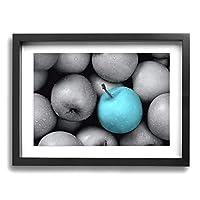 Hao Jinsun Turquoise Gray Teal Aqua Apples 絵画 壁ポスター アートパネル 装飾画 壁飾り インテリアアート 木製の枠 モダン 現代の絵 額縁付き 40×30cm