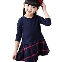 Eiza 女の子 ワンピース 長袖 フォーマル チェック 柄 e256 (140cm, 冬用(裏起毛))