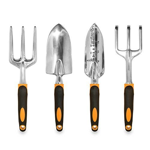 GardenHOME ガーデニング(庭造り手工具)セット【人間工学(エルゴノミクス)に基づき設計されたハンドスコップ・ハンドシャベルセット】(用途に合わせた4つの工具)