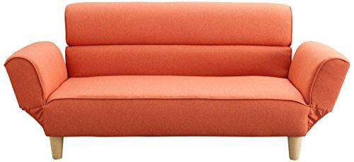 アイリスプラザ マイルド風 ギア付きソファー オレンジ 幅140cm 2.5人掛け