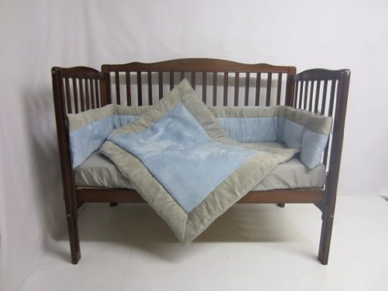 Baby Doll Bedding Zuma 3 Piece Crib Bedding Set, Grey/Blue by BabyDoll Bedding