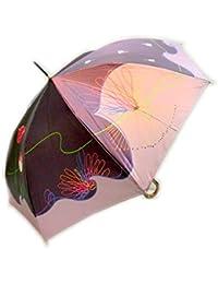 アトリエ21 レディース 日本製 おしゃれで上品な サテン生地 コスミックチューリップ柄 60cm ジャンプ傘