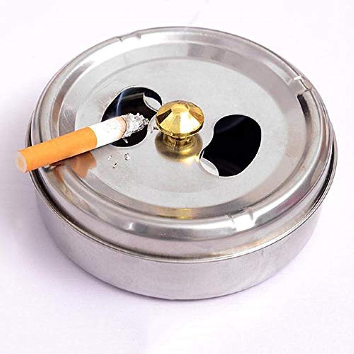 耳決定株式ステンレス鋼ドラム形状現代防風無煙卓上灰皿シガーシガー灰ホルダー付き蓋カバー (Size : L)