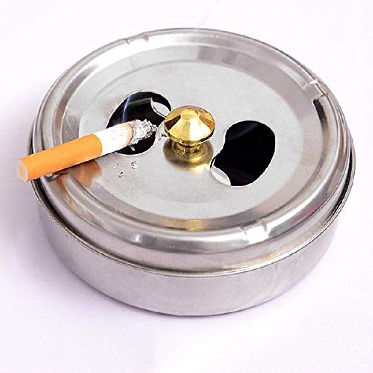 分解する蒸発するひばりステンレス鋼ドラム形状現代防風無煙卓上灰皿シガーシガー灰ホルダー付き蓋カバー (Size : L)