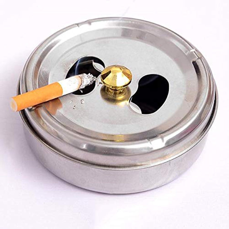 グリース限りなくプレートステンレス鋼ドラム形状現代防風無煙卓上灰皿シガーシガー灰ホルダー付き蓋カバー (Size : L)