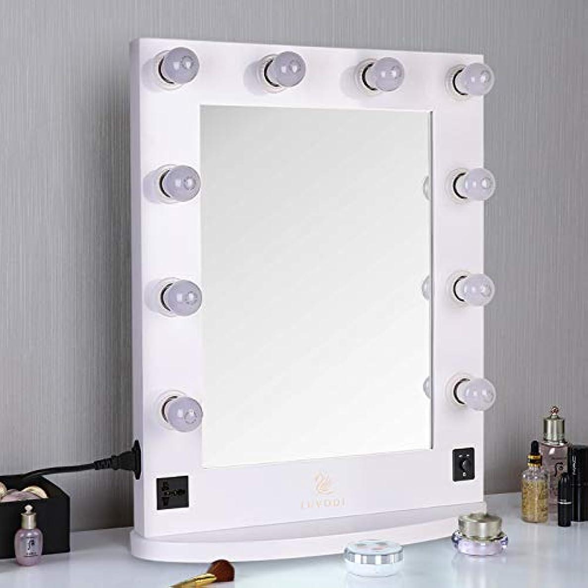 不誠実探すヒューズLUVODI ハリウッドミラー 化粧鏡 化粧ミラー 女優ミラー led ライト付き 卓上鏡 スタンド 卓上/壁掛け 鏡 2Way 大型 木製 明るさ調節可能(白)