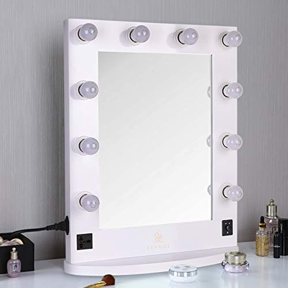 看板量で眠りLUVODI ハリウッドミラー 化粧鏡 化粧ミラー 女優ミラー led ライト付き 卓上鏡 スタンド 卓上/壁掛け 鏡 2Way 大型 木製 明るさ調節可能(白)