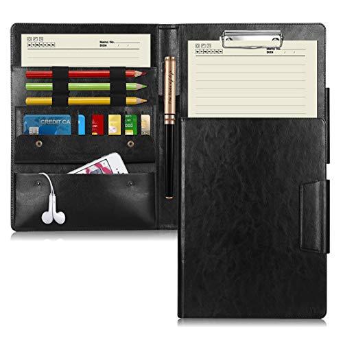 多機能フォルダー A4バインダー,FYY 高級PUレザー A4ファイル クリップボード A4書類契約フォルダー 会議パッド ノートカバー 収納ポケット付き ビジネス オフィス用品 (ブラック)