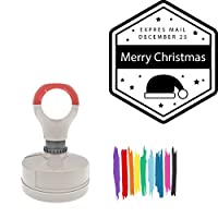Expres Mail December 25 Merry Christmas Round Badge Style Pre-Inked Stamp, Light Blue Ink Included