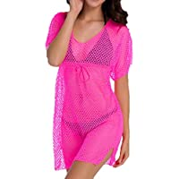 Women Short Sleeve Swimsuit Summer See Through Net Cover Up Mini Beach Dress