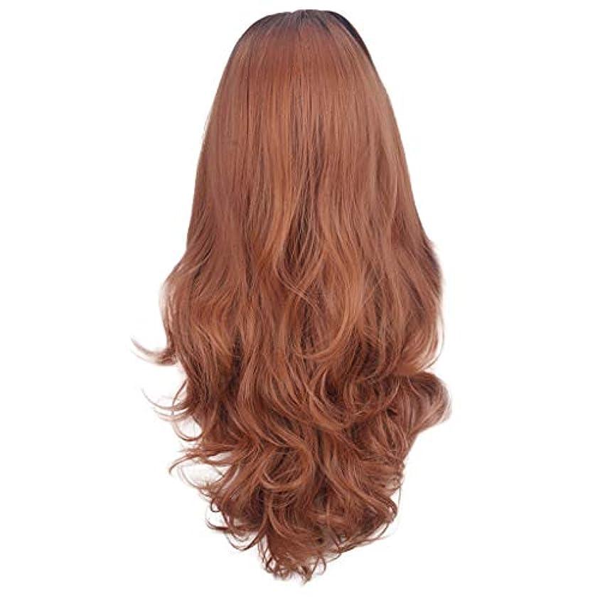 脳そこからアシスト茶色の女性のかつらの長い巻き毛のフロントレースかつら80CM