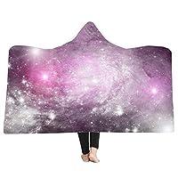 LJFYXZ 着る毛布 プリントブランケット 天の川銀河 HD映像 消えない マジックマント 厚い二重層 昼寝毛布 (色 : F f, サイズ さいず : 150x130cm)
