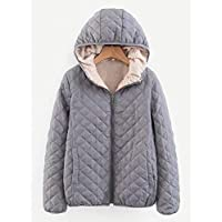 INFASHION Women's Grey Casual Shearling Lined Quilted Hooded Puffer Jacket with Zipper
