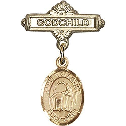 ゴールドFilled Babyバッジwithローマの聖バレンタインチャームとGodchildバッジピン1 x 5 / 8インチ