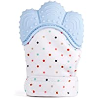 SIEGES ベビー用手袋 歯がため ミトン おもちゃ 食品級シリコン おしゃぶり 赤ちゃん 新生児 出産祝い 新生児 贈り物 3~18ヶ月 一個入り (ブルー)