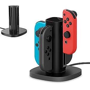 GameWill Nintendo Switch Joy-Con充電スタンド 急速充電スタンド 4台同時充電可能 USBケーブル内蔵 充電指示ランプ付き (ブラック)