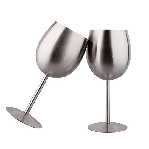 IMEEA ワイングラス SUS304ステンレス 2個セット ワイングラスセット ワイングラスペア シルバー
