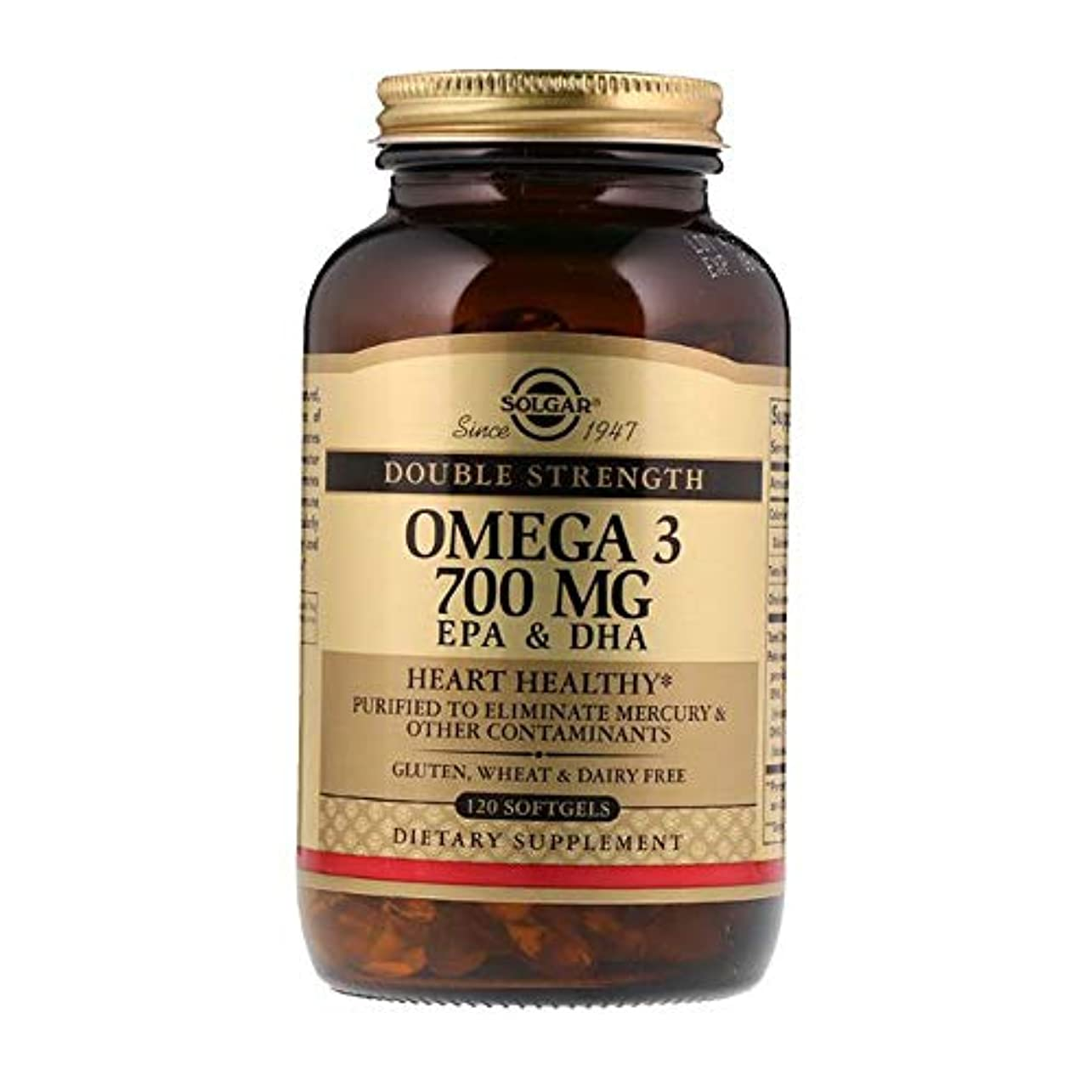 約宇宙荒廃するSolgar Omega 3 EPA DHA Double Strength 700mg 120 Softgels 【アメリカ直送】