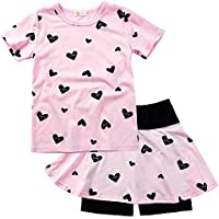 DDSOL Toddler Girl Summer Outfits Heart Print Top and Shorts Clothing Set