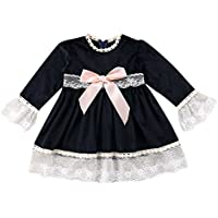 Toddler Baby Girls 3/4 Bell Sleeve Dress Lace Tunic Swing A-line Dresses (80, Black)