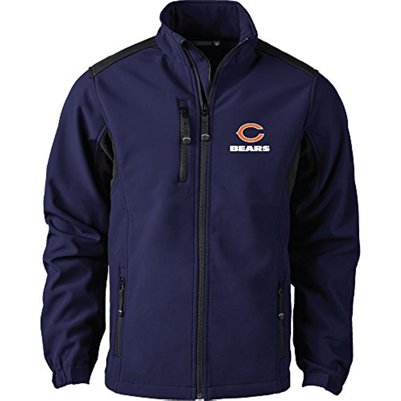 NFL Chicago Bearsメンズソフトシェルジャケット、M、ネイビー