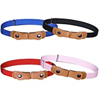 No Buckle Stretch Belt for Boys - 4PCS Toddlers Invisible Belt For Boys & Girls Stretch Waist Belt Up to 30""