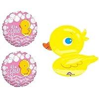 loonballoon Duck Rubber DuckyピンクイエローIt 's A Girlベビーシャワーパーティーマイラーバルーンセット