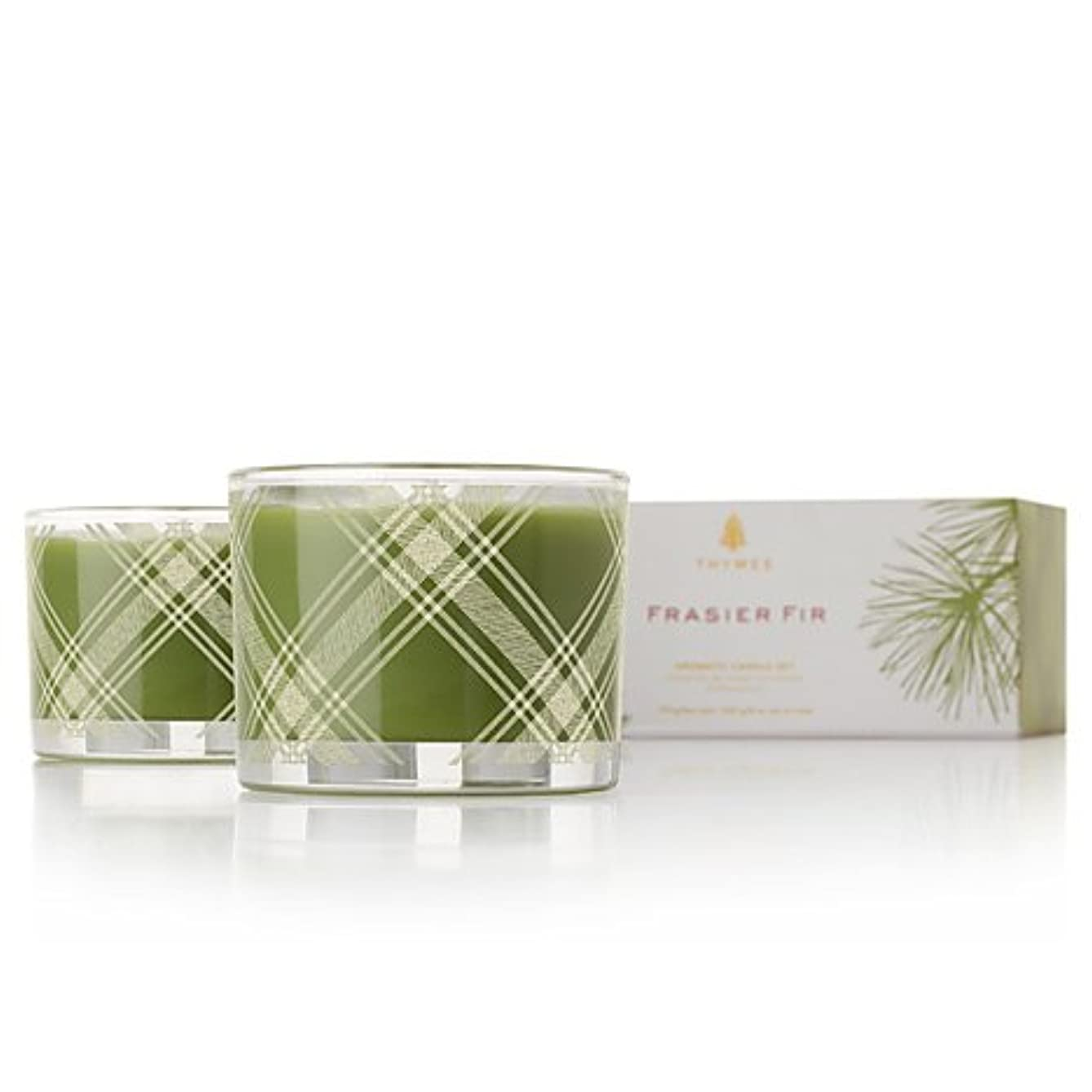 言語学太字制限Thymes Frasier Fir Aromatic Poured Candle Set 2 x 3.75 oz by Thymes