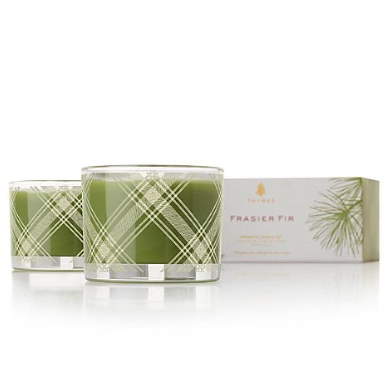 床割る整然としたThymes Frasier Fir Aromatic Poured Candle Set 2 x 3.75 oz by Thymes