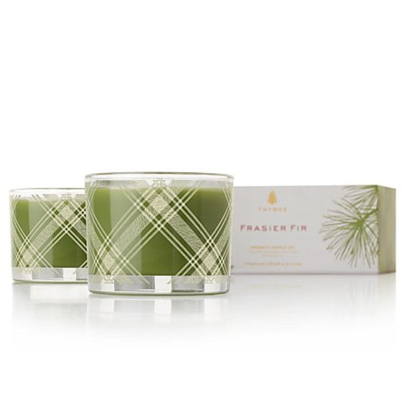 アコード細断間違っているThymes Frasier Fir Aromatic Poured Candle Set 2 x 3.75 oz by Thymes