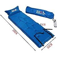 軽量シングルSleepingマットマットレス膨らむパッド枕、ブルー