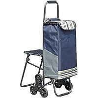 ハンドカートショッピングカートショッピングカート折りたたみスツールトレーラーの車の車の車の椅子の車 (色 : 青)