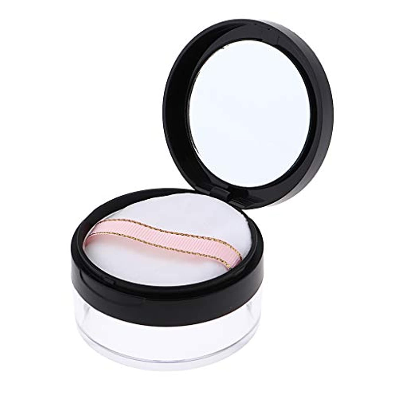 音声学とんでもない保証パウダーケース 化粧品 ジャー 鏡 パフ 2色選べ - ブラック