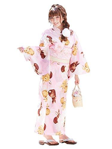 (ユメテンボウ)夢展望 うさぎレース柄浴衣セット F ピンク