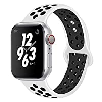 AIGENIU コンパチブル Apple Watch バンド、2個留め具の多空気穴通気性 シリコン スポーツ バンド Compatible for アップルウォッチ バンド 38mm 40mm 42mm 44mm iwatch Series 4/3/2/1に対応 S/M M/L サイズ (38/40mm ML, 白&ブラック)