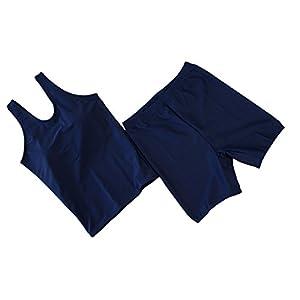 SPOSPO(スポスポ) 女子用 セパレート スクール水着 胸パッド付 日本製 0100 ネイビー 150cm