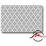 ZMvise White and Grey Clover Non-Slip Bath Shower Area Rug Floor Door Mats Front Entry Carpet Indoor Doormat Outdoor Felt