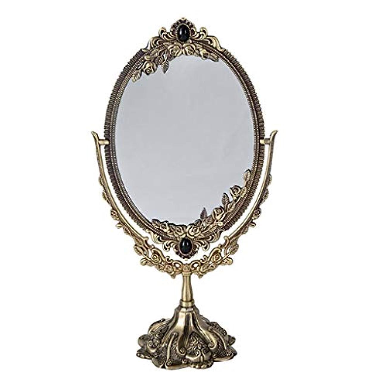 プリーツ麺ベテランSelm 化粧鏡オーバル、hdシルバーミラー化粧鏡360度回転バニティミラー寝室用オーバルヴィンテージスタイル (Color : Bronze)