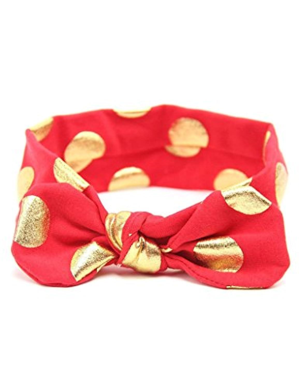 ajetexベビー女の子子供用弾性ヘッドバンドBig Gold Dot Bow Band 0-3 Years レッド