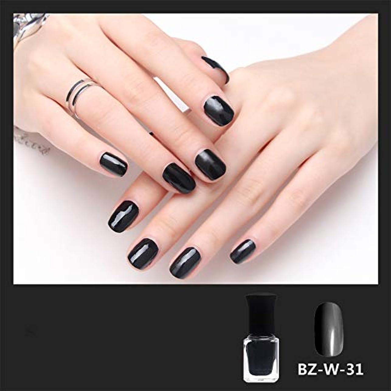 シャイニーネイルポリッシュジェル水溶解性カラフルな漆ワニスネイルアートDIY4色6ml (黒)