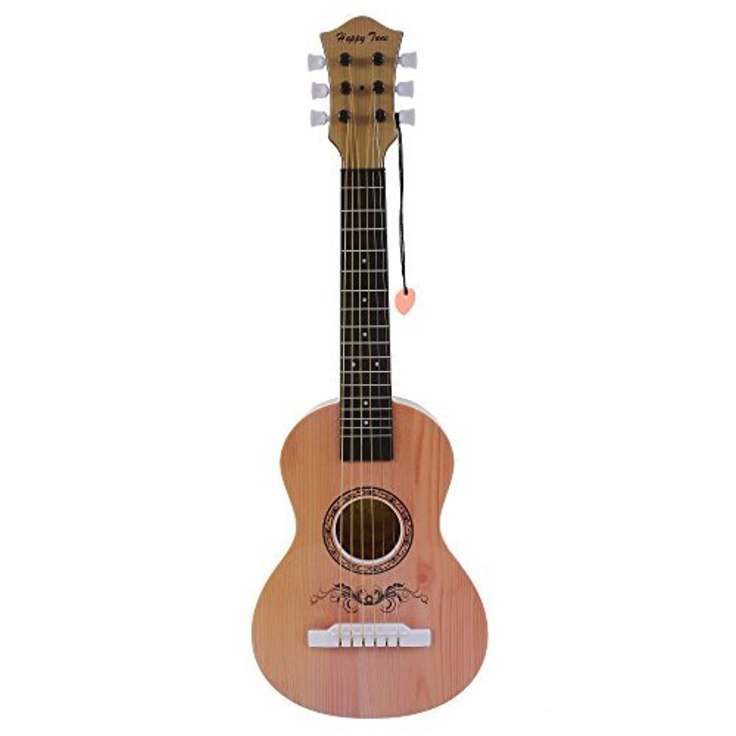 Happy Tune 6 String Acoustic Guitar Toy for Kids with Vibrant Sounds and Tunable Strings (Natural) [並行輸入品]